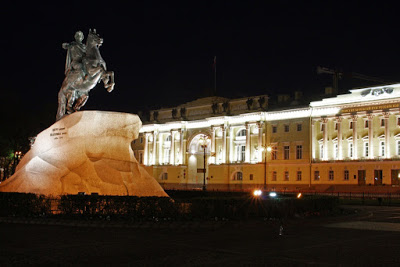 Russia St Petersburg Leningrad night statue city-break presidential library