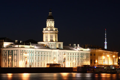 Russia St Petersburg Leningrad museum anthropology Peter Great night lights summer Neva