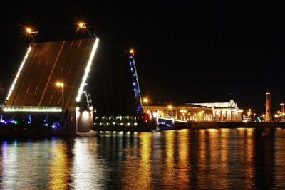 St Petersburg Russia night city-break light Neva