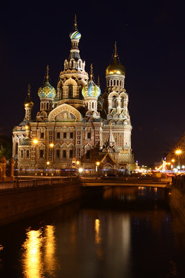 St Petersburg Russia orthodox russian style Savior spilled blood Neva Alexander Christ night photography