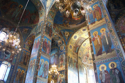 Byzantine mosaic St Petersburg Russia orthodox russian style Savior spilled blood Neva Alexander Christ night photography