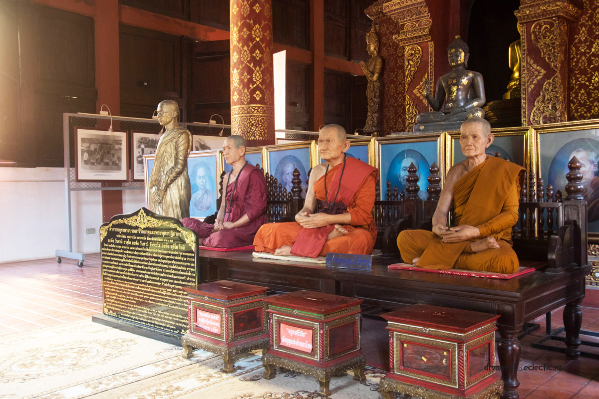 Chiang Mai Wat Prasingh buddhist temple monks wax figures